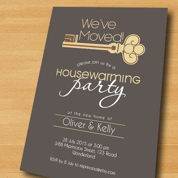 Housewarming Invitation New house KEY design Invitation Card | We have moved Invitation Card Design - card 305