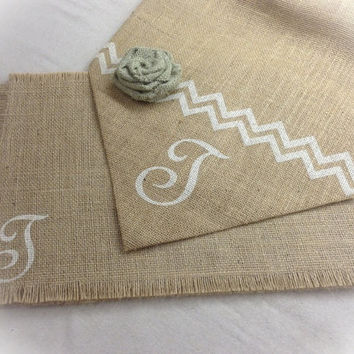 Burlap Table Runner & (6) placemats set with Monogram