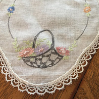 Vintage linen embroidered dresser scarf, Oval, Flower basket, floral, 1950s