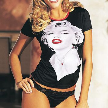 T-Shirt - Marilyn Monroe Portrait Print w/Thong (Small-Medium, XL)