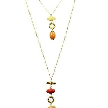 Coral Red Two Layer Natural Stone Pendant Necklace