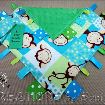 Baby Crinkle Sensory, Tag Blanket Toy with Crinkle Sound, blue turquoise green, monkeys, dots, animals READY TO SHIP 152