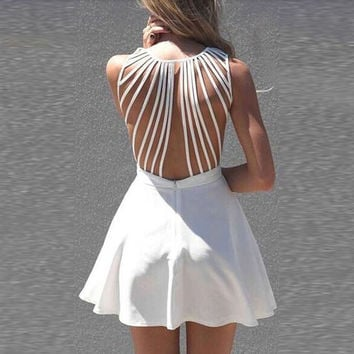 White Sweetheart Neck Strappy Back Sleeveless Mini Skater Dress