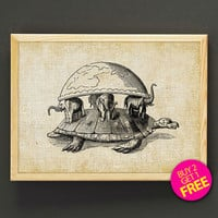 Terry Pratchett's Discworld Antique Print Whimsical Turtle and Elephant Myth Poster Wall Art Decor Gift Linen Print - Buy 2 Get FREE- 404s2g