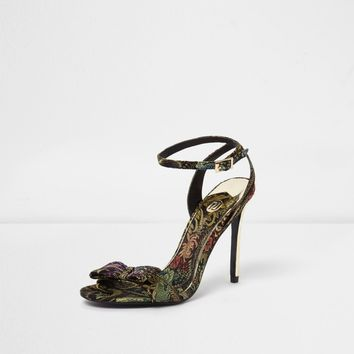 Gold floral jacquard bow barely there sandals - Sandals - Shoes & Boots - women