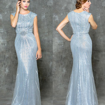GLOW G699 Grey Beaded Mesh Prom Evening Dress