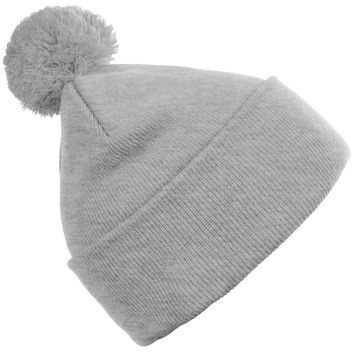 LE3NO PREMIUM Womens Stretchy Fold Up Pom Pom Knit Beanie Cap