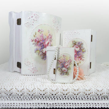 Shabby-chic Wedding , Jewelry Trinket Boxes, Distressed white with decoupage Rose, Victorian styles