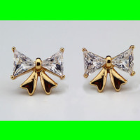 Gold and Rhinestone Bow Earrings