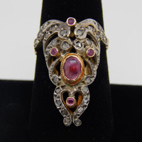 Antique 1920 Art Deco Art Nouveau 18k Yellow and White Gold Diamond and Ruby Statement Ring