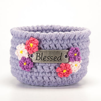 Mothers Day gift, crochet bowl, blessed, spring home decor, lavender, blossoms, candle holder, jewelry dish, guest room decor, catchall