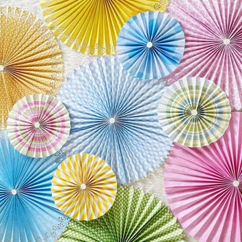 Paper Rosettes - Paper Pinwheels - Pinwheel Backdrop - Paper Fans - First Birthday Decorations - Baby Shower Decor - Bridal Shower Decor