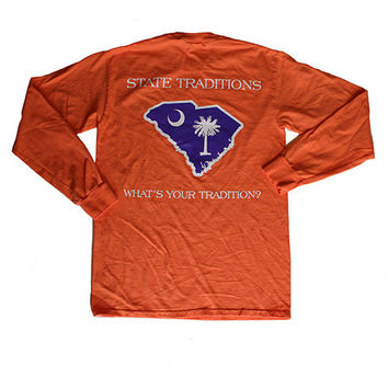 SC Clemson Gameday Long Sleeve T-Shirt in Orange by State Traditions