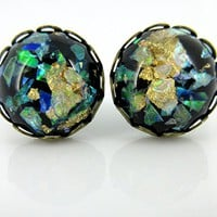 Antiqued Gold-tone Black Leaf and Cellophane Resin Stud Earrings 12mm