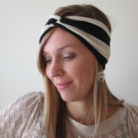 Twist Headwrap, black and cream stripe, Boho Headband, turban twist headband, boho headwrap, knot headband