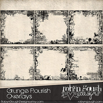 Grunge Flourish Overlays ClipArt - Photo & Digital Overlays for Scrapbooking