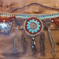 Dream catcher utility belt, crochet pocket belt, belly dancing, dance wear, summer accessories.