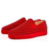 ONETOW Christian Louboutin Roller-Boat Flat Men's Women's Flat Rougissime Suede 1120387R134