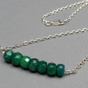 Genuine Raw Emerald and Sterling Silver Necklace