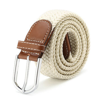 125CM Men Women Stretch Braided Elastic Woven Leather Pin Buckle Belt