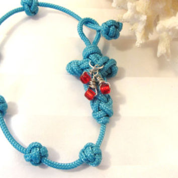 Cross Knot Bracelet Turquoise Blue Korean Cord with Three Red Glass Beads and Button Knots Beth Moore Salvation Keepsake Baptism Gift