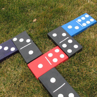 Domino yard art, Three Concrete dominoes, Patio decor, Garden fun, Dominoes game pieces