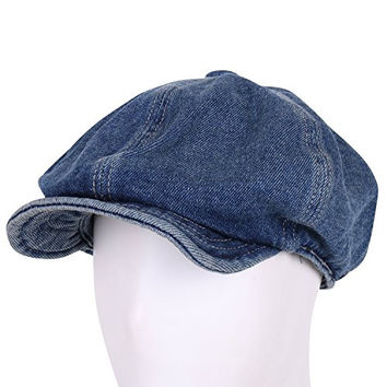 ililily Vintage Denim Cotton Washed Newsboy Flat Hunting Cap Cabbie Irish Ivy Hat (flatcap-639-3)