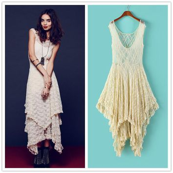 Irregular Lace Dress Boho Hippie Style Asymmetrical Embroidery Sheer Long Dresses Double Layered Ruffled Trimming Low No Lining