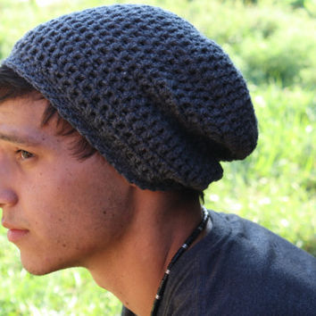 Crochet Men Slouch Beanie- Grey- Gray- fall - back to school