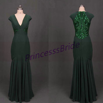 2014 dark green chiffon prom dresses with sequins,floor length v-neck evening gowns on sale,elegant mermaid beaded party dress hot.