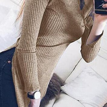 Coffee Plain side slit High Neck Fashion Knit Pullover Sweater
