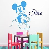 Wall Decals Vinyl Decal Sticker Children Kids Nursery Baby Room Bedding Interior Design Home Decor Cartoon Mouse Custom Boy Personalized Name Kg919
