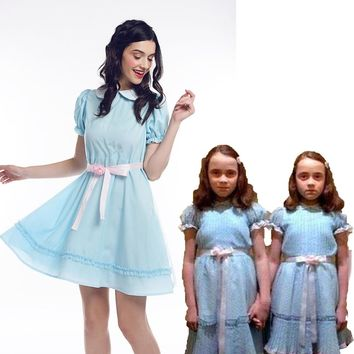 Adult Kids The Shining Grady Twin Lisa and Louise Girl Party Lolita Dress Cosplay Costume Halloween