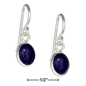 STERLING SILVER SMALL OVAL LAPIS CABOCHON EARRINGS