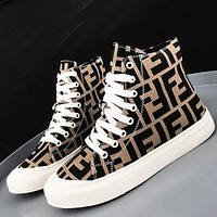 Fendi New fashion more letter print canvas leisure shoes women