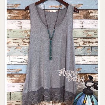 Everyday Grey Lace Extender Tank Top