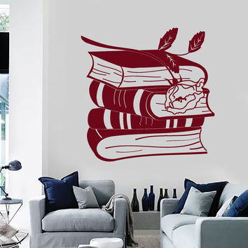 Vinyl Wall Decal Books Rose Reading Room Bookworm Library Stickers Unique Gift (ig4688)