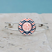 Coral and Navy Chevron Monogram Pendant Necklace,Coral and Navy Chevron Monogram Cuff Bangle Bracelet, Coral Chevron Monogram, Gifts for her