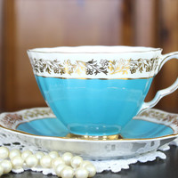 Teal Blue Royal Adderley Tea Cup and Saucer - English Teacups 12080