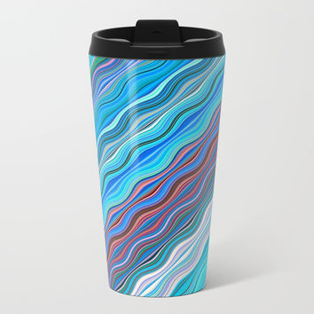 Colorful lines Metal Travel Mug by Knm Designs