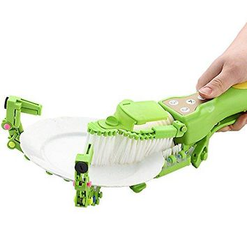 Hisoul Automatic Dish Scrubber Brush Handheld Antibacterial Kitchen Dishwasher Brush (green)
