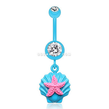 Ariel's Starfish Shell Belly Button Ring (Teal/Clear/Pink)