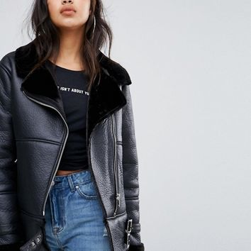 Missguided Buckle Detail Aviator Jacket at asos.com