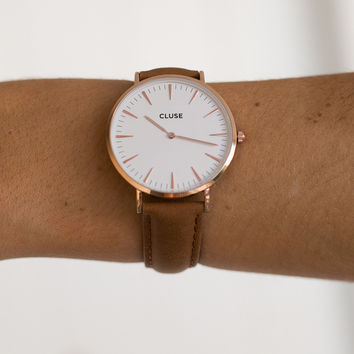 La Boheme Rose Gold White/Caramel Watch - CLUSE