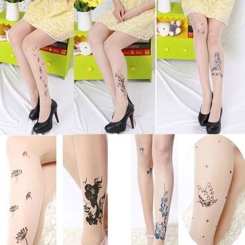 1PCS Women's Tights Classic Silk Stockings Ladies Vintage Rose Faux Tattoo  Stockings Pantyhose Female Hosiery Hot Sale
