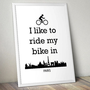 Biking in Paris - lifestyle - Printable Poster - Digital Art - Download and Print