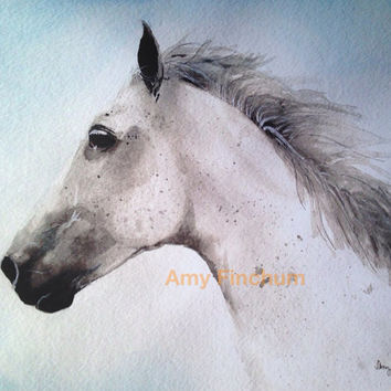 Silver Horse - Print - Watercolor Horse, White Horse, Rustic Horse Painting, Horse Head Art, Western Horse Painting, Country Farm Art