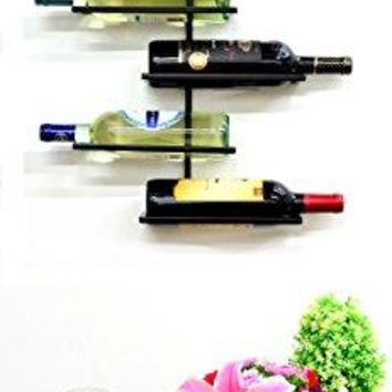 Superiore Livello Naples 6 Bottle Wall Mounted Wine Rack   Decorative Metal  Shelf Storage With Modern