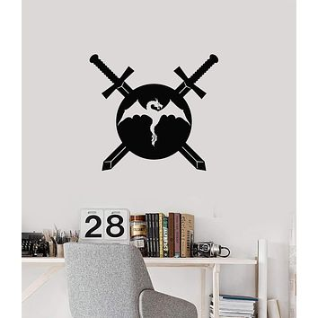 Vinyl Wall Decal Swords Dragon Shield Warrior Knight Boy Room Interior Stickers Mural (ig5838)