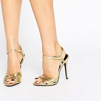 Public Desire Angel Knot Gold Heeled Sandals at asos.com
